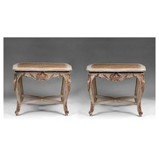 Pr. Of 18th C. Matched Venetian Tabourets Or Stools With Cane Seats