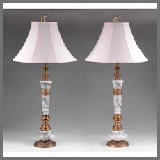 Art Nouveau French Columnar Lamps Mounted In Bronze