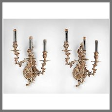 Late 19th C. Identical Pair of Louis XV Scrolled Bronze Sconces
