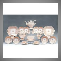 A 19th century 33 Pc. English Neo Rococo Hand Painted Dessert Set