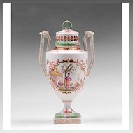 19th C. Helena Wolfsohn Dresden Hand Painted Urn