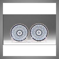 Pair Of Dr. Wall First Period Royal Lily Pattern Dessert Plates