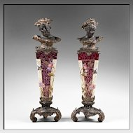 Pair of Art Nouveau Spelter Busts Or Herms Mounted on Enameled Pedestals
