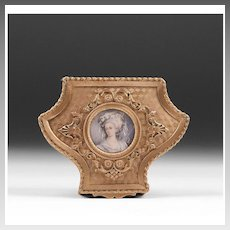 19th C. Gilt Bronze Shield Shaped Jewelry Casket or Box With Inset Portrait