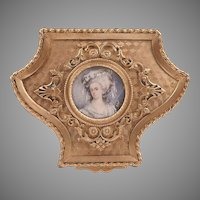 19th C. Gilt Bronze Shield Shaped Casket or Box With Inset Portrait