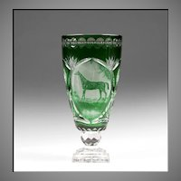 Green Cut to Clear Bohemian Glass Vase, Engraved Horse Cameo