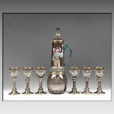 Art Nouveau Bohemian Theresienthal Glass 7 Piece Enamel Wine Set