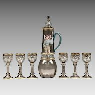Art Nouveau Bohemian Theresienthal Glass 7 Piece Enamel Wine Set