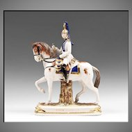 """German Kister, Scheibe Alsbach Mounted Porcelain Soldier, """"Garde Imperiale"""""""