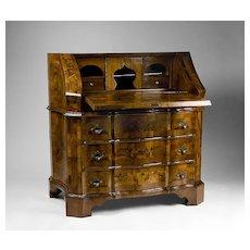 18th C. Northern Italian Olive Wood Slant Front Bureau Desk
