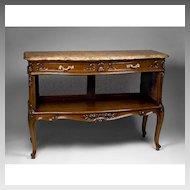 Late 19th Century French Provincial Caned Server or Buffet With Marble Top