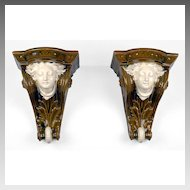 Pair of Austrian Majolica Cornice Shaped Wall Brackets Or Shelves by Schutz Cilli