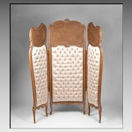 Hand Carved Louis XV Style Three Panel Screen With Cane Insets