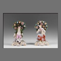 Pair of 19th C. Edme Samson Bocage Figurines After Chelsea