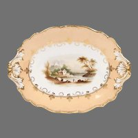 19th C. English Porcelain Scenic Hand Painted Compote
