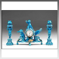 19th C. Blue Turquoise Glazed Sevres Clock Garniture Set