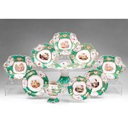 1830-40 English Scenic Rockingham Ten Piece Rococo Dessert Set