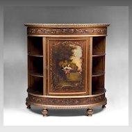 Late 19th C. Vernis Martin Demilune Cabinet