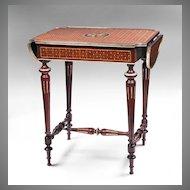 Louis XVI Bois de Satine Parquetry Drop Leaf Table
