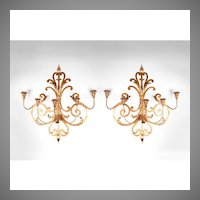Pair of Mid 20th C. Italian Gilded Wrought Iron Wall Sconces