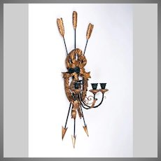 Early 20th C. Italian Carved Wood And Iron Sconce