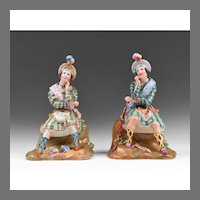 19th Century Paris Porcelain Figural Perfume Bottles Manner of Jacob Petit