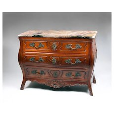 Late 19th C. French Provincial Walnut Louis XV Bombe Commode