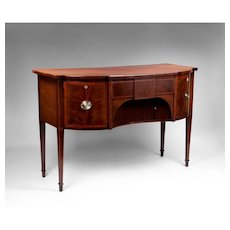 George III Diminutive Figured Mahogany Demilune Sideboard With Tambour Door