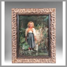 Girl In Marshes Oil On Canvas By Gennaro Befani