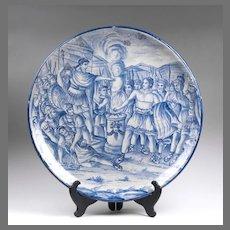 19th C. Italian Istoriato Faenza Cobalt Blue Decorated Charger
