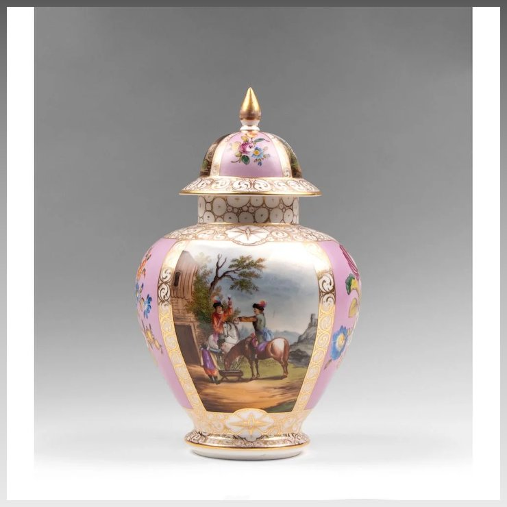 19th C Dresden Helena Wolfsohn Vase With Cover Pias Antique