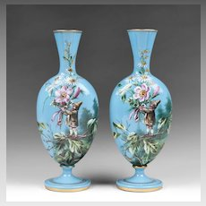 Pair of Harrach Bohemian Opaline Glass Enamel Vases With Gnomes