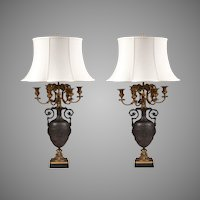 Napoleon III Bronze Candelabras Fitted As Lamps