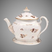 Early 19th C. Worcester Flight & Barr Shanked Teapot With Stand