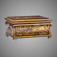 Chinese Export Black And Gilt Lacquer Sewing Box With Cover