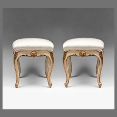Pair of 19th Century Rococo Venetian Painted Tabourets Or Stools