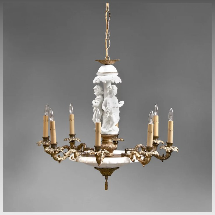 Mid 20th c italian alabaster chandelier with biscuit figural column mid 20th c italian alabaster chandelier with biscuit figural column aloadofball Image collections