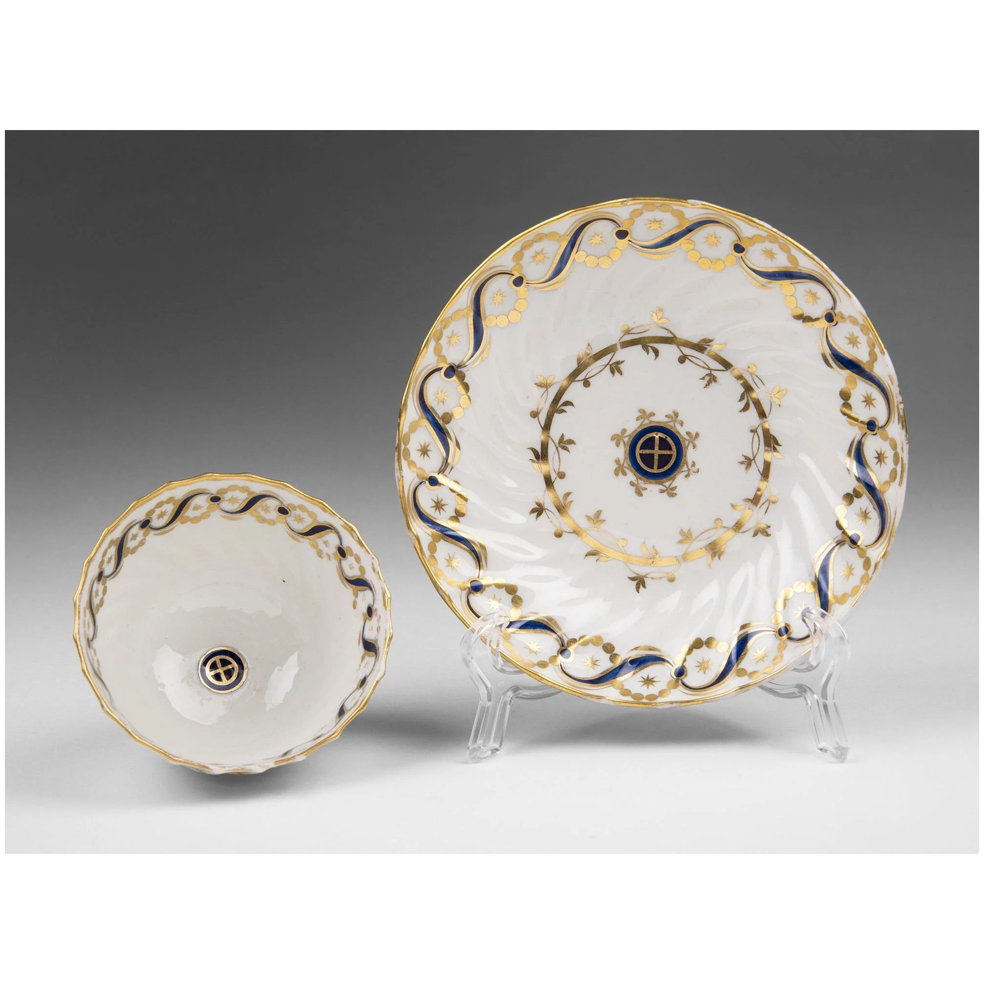 6th C. English Soft Paste Porcelain Tea Bowl and Saucer, Attributed To  Caughley