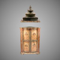 Pr. Of Late 19th C. Venetian Lacca Povera Corner Cabinets With Etageres