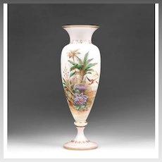 19th C. Bohemian Opaline Vase With Raised Enamel Landscape