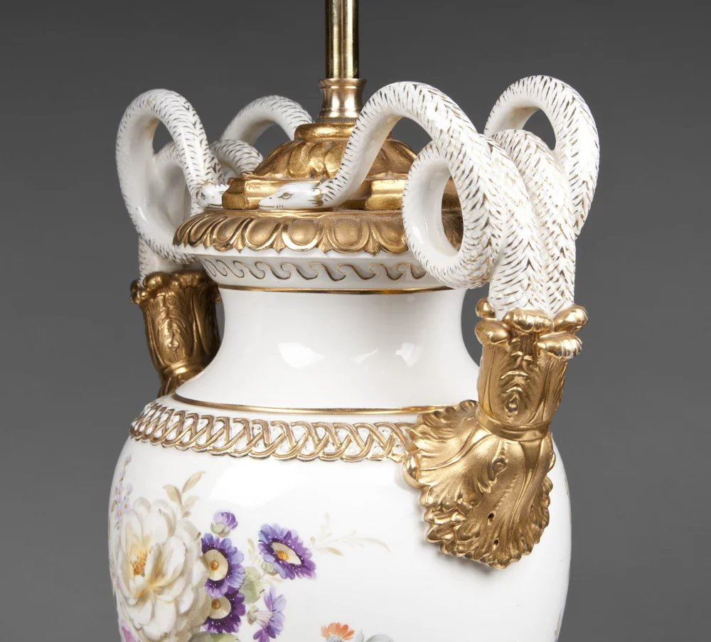 Paris Porcelain Hand Decorated Vase Fitted For Lamp Pia: Pr. Of Early 20th C. Meissen Snake Handle Vases Fitted As