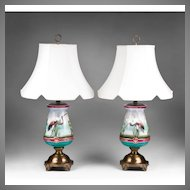 Pr. 19th C. Aesthetic Movement Paris Porcelain Vases Fitted As Lamps