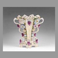 Jacob Petit French Porcelain Floral Encrusted Vase