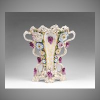 Jacob Petit French Porcelain Floral Encrusted Vase
