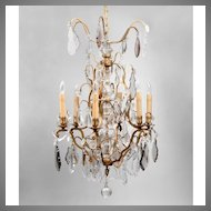 Mid 20th C. Bronze And Crystal Tiered Chandelier, 6 Lights