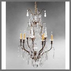 Early 20th C. Bronze and Crystal French Tiered Chandelier, 7 Lights