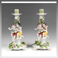 Pair of 19th Century Volkstedt Porcelain Figural Candlesticks