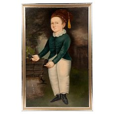 Primitive Oil Painting Of Boy Manner Of Joseph Whiting Stock