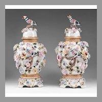 Richard Klemm Dresden Porcelain Urns Floral And Bird Encrusted