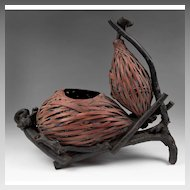 Japanese Double Gourd Hyotan Basket Of Woven Bamboo